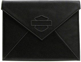 Leather iPad Case with Faux Suede Bar & Shield 7190