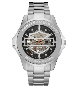 MEN'S BAR & sHIELD COVER MECHANICAL WATCH, STAINLESS  STEEL 76A154