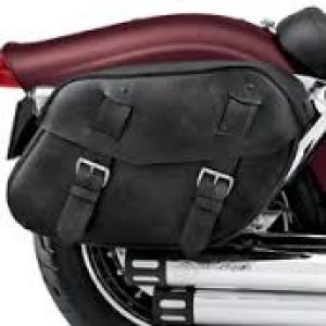 Distressed Black Leather Saddlebags - 88200-09A