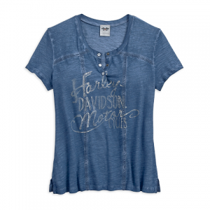 HARLEY-DAVIDSON WASHED WOMEN'S HENLEY TEE