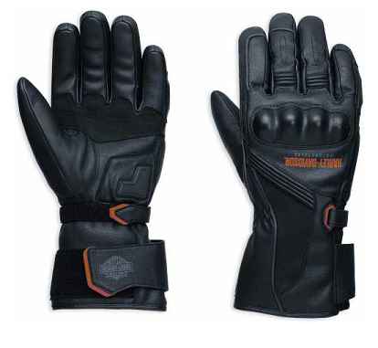 MEN'S H-D MESSENGER LEATHER GAUNTLET GLOVES EC  98360-17EM