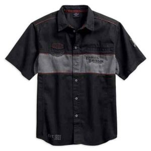 Harley-Davidson® Men's Iron Block Short Sleeve Woven Shirt, Black 99018-17VM