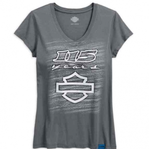 WOME'S 115TH ANNIVERSARY V-NECK SLIM FIT TEE GREY 99030-18vw