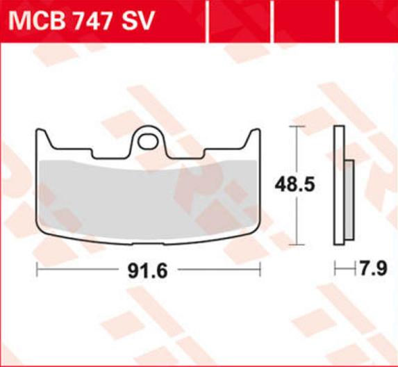 BRAKE PAD TRW MCB747SV 17211146