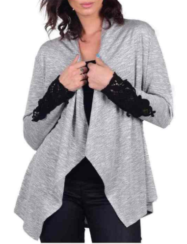 WOMEN'S HEART BLOSSOM LONG SLEEVE OPEN FRONT CARDIGAN, GRAY