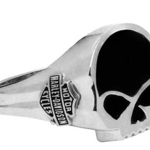 Men's Black Onyx Willie G Skull Ring, Sterling Silver