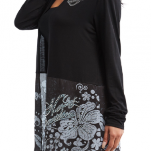 WOMEN'S LONG SLEEVE OPEN FRONT CARDIGAN, BLACK