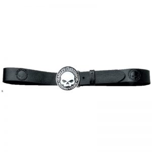 CIRCLE WILLIE G SKULL BUCKLE BLACLK LEATHER BELT HJ-18