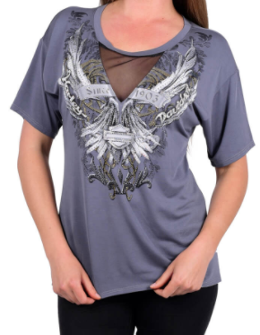 WOMEN'S MAJESTIC FLIGHT WINGS GREY SHORT SLEEVE T-SHIRT HT4123GR