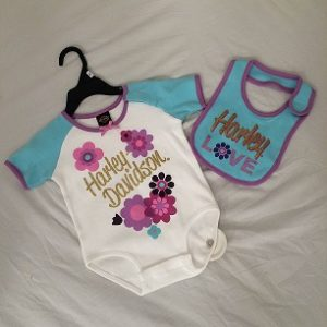 HARLEY-DAVIDSON BABY CREEPER & BIB SET GIRLS  14420