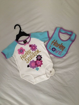 HARLEY-DAVIDSON BABY CREEPER & BIB SET GIRLS  14420