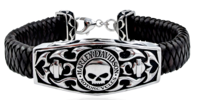 WILLIE G SKULL&TRIBAL FLAME LEATHER ID BRACELET HDB0357