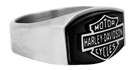 MEN'S BLACK STEEL  B&S STONE RING HSR0006