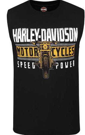 MEN'S MOTORCYCLE BLACK SLEEVLESS MUSCLE T-SHIRT R002400