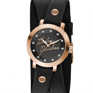 Harley-Davidson® Women's Rose-Gold Crystal Double Wrap Leather Watch 77L109