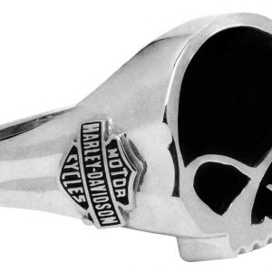 Harley-Davidson Men's Black Onyx Willie G Skull Ring, Sterling Silver HDR0458
