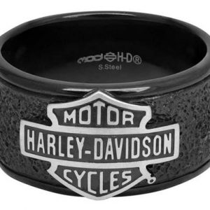 Harley-Davidson® Men's Bar & Shield Off-Road Wide Band Ring, Black Steel HSR0049