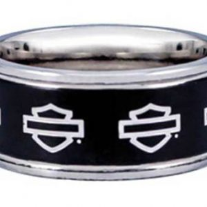 Harley-Davidson® Men's Outline Bar & Shield Stainless Steel Band Ring HSR0025