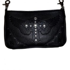 WOMEN'S METAL MAMA LEATHER HIP BAG, BLACK 16843
