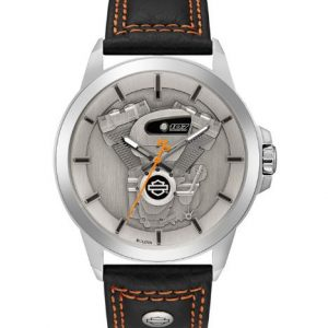 MEN'S HARLEY-DAVIDSON BIG TWIN LEATHER&STAINLESS STEEL WATCH 76A161
