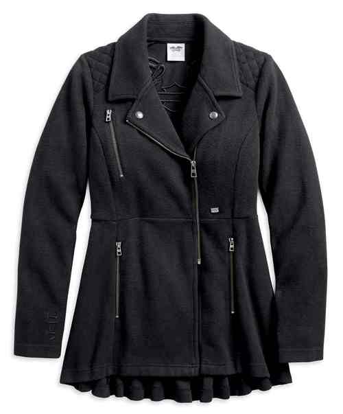 WOMEN'S PLEATED BACK QUILTED CASUAL PEACOAT, BLACK 96080-18VW