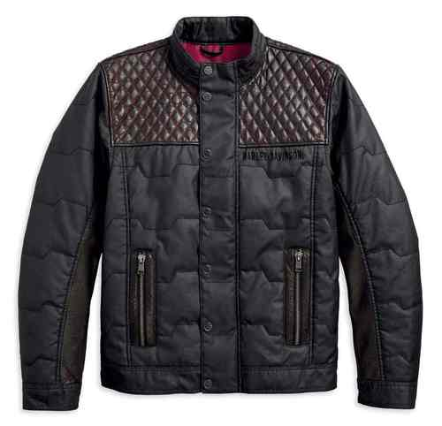 MEN'S QUILTED RED LEATHER ACCENT JACKET, BLACK