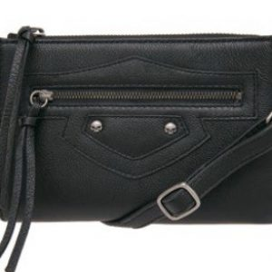 WOMEN'S  B&S WITH WILLIE G SKULLS, BLACK LEATHER HIP BAG HDWBA10943